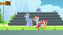 Bow and Windy standing near the bleachers S7E7