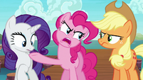 Pinkie Pie points the hoof at Rarity S6E22