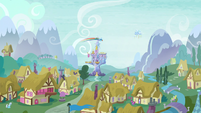 Rainbow Dash flying with Twilight's castle in the background S5E5