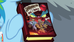 Rainbow Dash holding Daring Do book S04E04.png