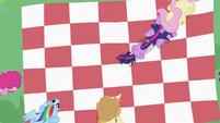 Twilight Sparkle putting hoof on Fluttershy S2E03