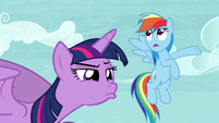 """Twilight observing Tank while Rainbow says """"Totally"""" S5E5"""