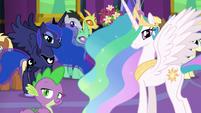 Celestia, Luna, and Spike looking at Twilight S7E1