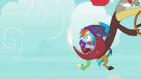 Discord flying off with Rainbow Dash MLPBGE