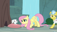 Dr. Fauna backs away from Angel and Fluttershy S9E18