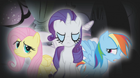 Fluttershy, Rarity, and Dash in Twilight's nightmare S1E09