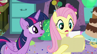 """Fluttershy reads """"But she's afraid of quesadillas"""" S5E11"""