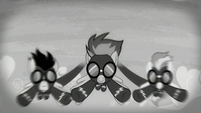 The Wonderbolts flying as the screen is black-and-white S5E15