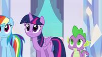 Twilight and Spike hearing Sunset's story EG