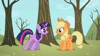 Twilight telling Applejack about Spike S2E10