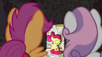 Apple Bloom scornfully greets her friends S6E4