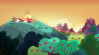 Bright Mac and Pear Butter on top of a hill S7E13