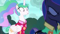 Princess Celestia in wide-eyed shock S9E13