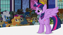 Princess Twilight addressing the crowd S5E10
