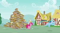 Rainbow Dash flies away from Pinkie Pie S7E23