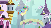 Rainbow and Fluttershy dive-bombing S9E4