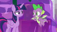 Spike looking embarrassed at Twilight S8E16