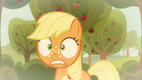 Young Applejack looking worried S9E10