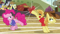 Braeburn bucks the ball toward Fluttershy S6E18