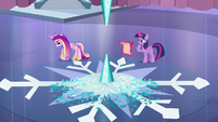 Cadance paces back and forth; Twilight writing the spell S6E2