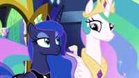 Celestia and Luna briefly glance at each other S9E13