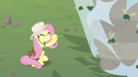 Fluttershy using bamboo as a flute S9E21