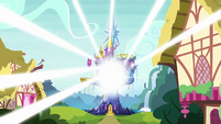 Light shining from the Castle of Friendship S7E19