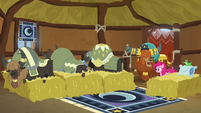 Pinkie, Rutherford, and yaks in yak sleeping hut S7E11