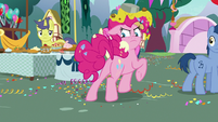 Pinkie Pie looking behind at Rainbow Dash S7E23