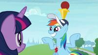 Rainbow balances ball and cone on her head S9E15