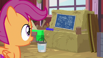 Scootaloo notices the table blueprints S9E23