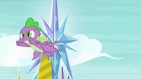 Spike soaring around the castle S8E24