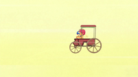 Applejack's cart trailing behind S6E14