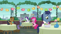 Maud, Rarity, and Pinkie at the dining table; stallion looking sad S6E3