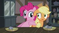 Pinkie Pie nudges Applejack to eat up S5E20