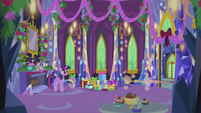 Pinkie and Applejack zoom out of the castle S5E20