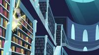 A teleport flash seen in the bookshelf S6E2