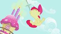 Apple Bloom jumping with the plates on her nose S2E06