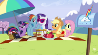 Main ponies looking at Pinkie offscreen S3E7