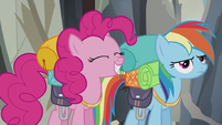 Pinkie smiles and Rainbow unhappy S5E8