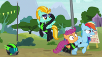 Rainbow drags Scootaloo away from Lightning S8E20