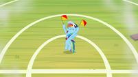 Rainbow waving her signaling flags S9E15