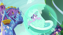 Starlight Glimmer floating in a baththub S8E24