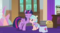 Twilight Sparkle hugs Cozy Glow S8E25