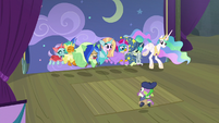 Young Six and Celestia practice dance number S8E7