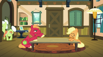 Applejack and Big McIntosh sigh in relief S6E23