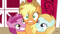 Applejack hugging Ruby Pinch and unnamed filly S7E14