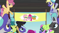 Buckball banner of Fluttershy, Pinkie, and Snails S6E18