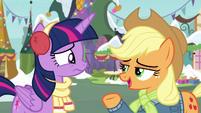 "Applejack calmly asks ""how's your day?"" MLPBGE"