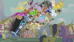 Ponies go flying from the DJ station S5E9.png